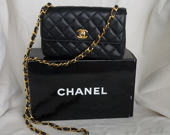 Genuine early 90 s black lamb skin mini Chanel Bag 10546a6da