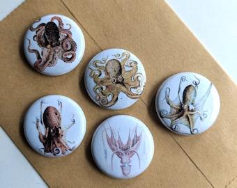 "5 Octopus 1"" Buttons/Badges/Pins"