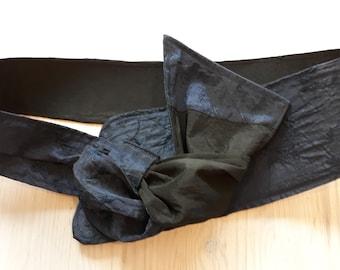 Taffeta belt. Smoke blue - Black