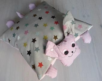 Cuddly pillow. Dog pillows. Star Grey-Pink