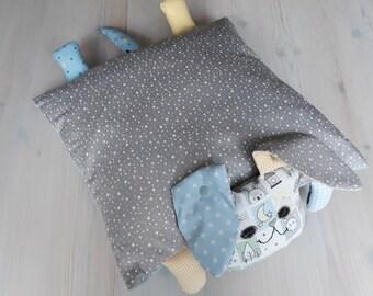 Cuddly pillow. Dog pillow grey-light blue-yellow