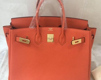 08ca45d43b10 Hot Sale Top Handle Bag Shoulder Bag BIRKIN 35 TOGO Leather Bag Leather  Togo Handbag Tote Bag-Original Leather Togo Color Orange