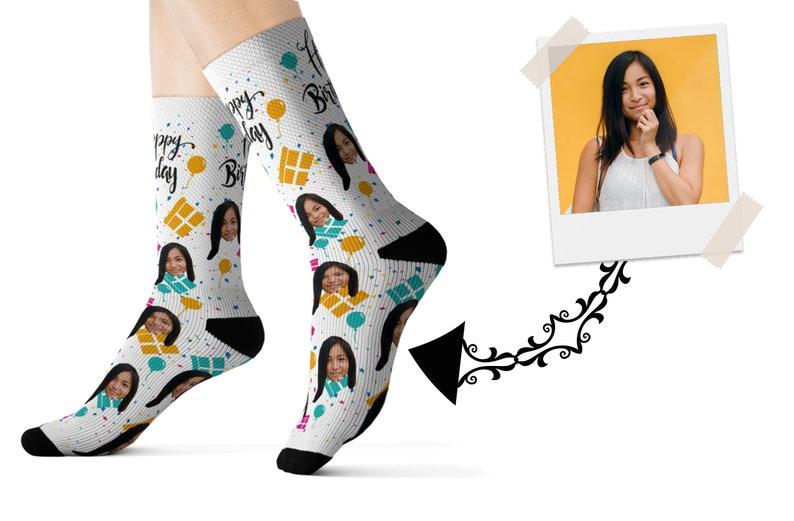 c306e80b3890b Custom Happy Birthday Photo Socks Birthday Gift Personalized | Etsy