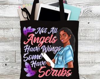 Black Nurse Gift Tote Bag Not All Angels Wings Wear Scrubs Rn Lpn CNA Black  Girl Magic Work Travel Carry-On Shopping Gym School Book Melanin 2da84a72b921b