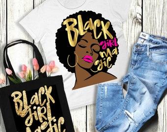 Black Girl Magic Shirt Women Black History Faux Gold Hot Pink Lips Dark  Skin Beautiful African Diva Afro Melanin Poppin Sexy T-Shirt 2a13359e61ea8