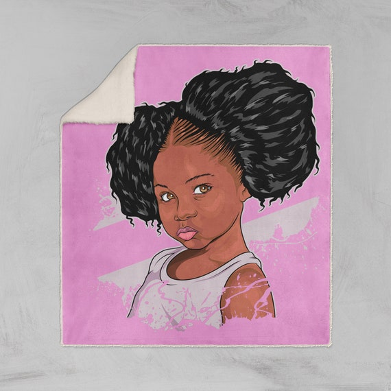 Peachy Pink Black Girl Magic Afro Puffs Little Girl Sherpa Fleece Etsy Natural Hairstyles Runnerswayorg