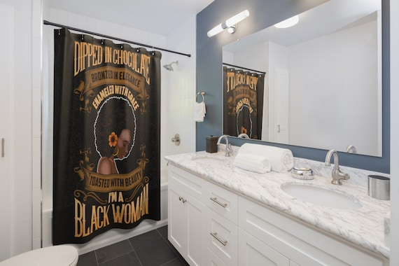 Dipped In Chocolate Black Woman Shower Curtain Bath Home Decor Gift Bathroom Wall Tapestry Decoration African Queen Afro Black Gir