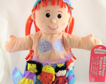Glove Puppet Girl Mermaid and Finger Puppet Set - New with Tags