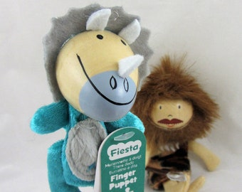 Caveman and Triceratops Dinosaur Finger Puppet Set Age 3+
