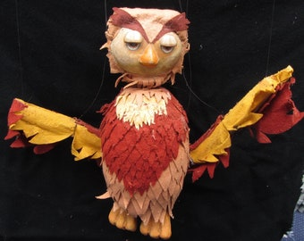 Vintage Owl Marionette Professional 1970's Performance Play Theatre