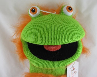 Large 'Ginger' Knitted Sock Hand Puppet - Green and Orange - New with Tags
