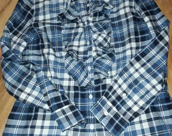 eab0020b LAUREN JEANS CO navy check cotton shirt very rare size large uk 14