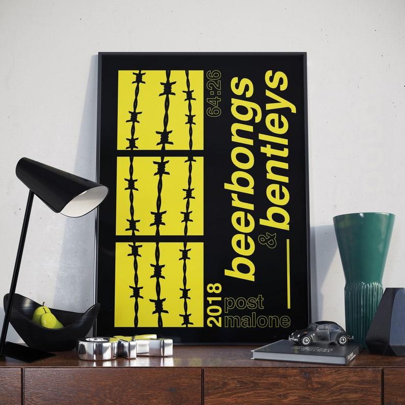 "Post Malone Beerbongs /& Bentleys Cover Poster 2018 Art Print 20×20 24×24/"" 32×32/"""