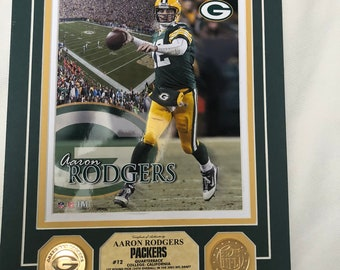 Aaron Rodgers Green Bay Packers NFL Gold coin vintage 8x10 - 44 of 1000 limited edition