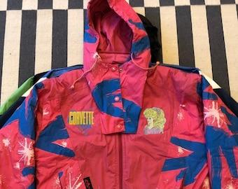 Chevrolet Corvette BARBIE Vintage windbreaker jacket hoodie 90s 80s - women size L