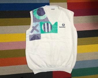 Sergio Tacchini tennis vest cotton sweatshirt Vintage 90s - men Sz L-XL