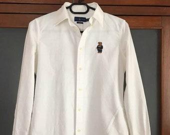 Vintage authentic Polo Ralph Lauren BEAR Women's Long Sleeve Slim Fit Button White XS S