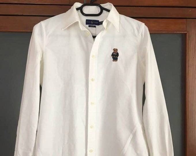 Featured listing image: Vintage authentic Polo Ralph Lauren BEAR Women's Long Sleeve Slim Fit Button White XS S