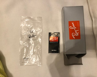 Empty Ray-Ban Box ONLY Silver Red Writing Sticker Sunglasses