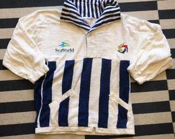 SeaWolrd Sweatshirt Towel Vintage 90s San Diego California - Sz Men S(Nov 11)