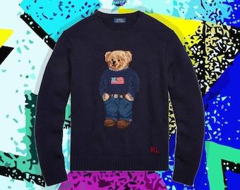 90s Ralph Lauren Polo Bear Sweater Men 2XL