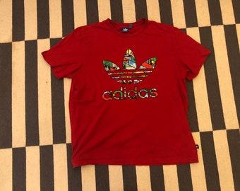 Adidas T Shirt beach shirt Vintage 90s red - men Sz XL