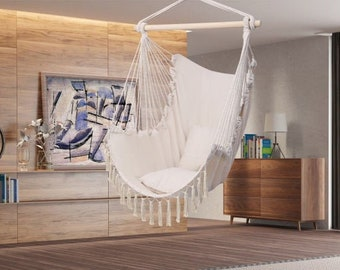 Hanging Hammock Chair with 2 Cushions & Tassels