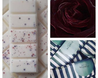 Velvet rose and Oud wax melts uk. Jo Malone inspired. Luxury. 50hrs fragrance. Rapeseed and coconut wax. Strong scented.No plastic packaging