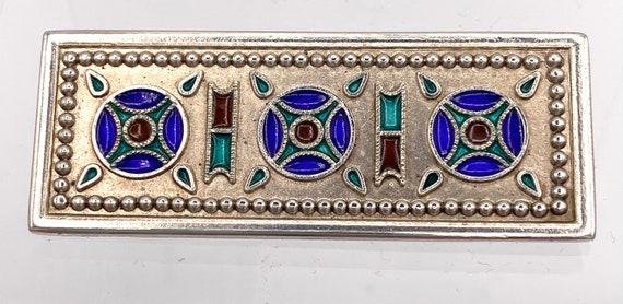 Sterling silver enamel brooch , Celtic or art nouv