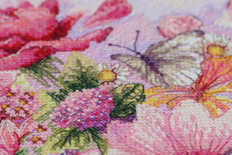 Needlepoint kit Cross Stitch Kit Pink Flowers Counted cross stitch full kit Art crafts kit Modern Embroidery Kit