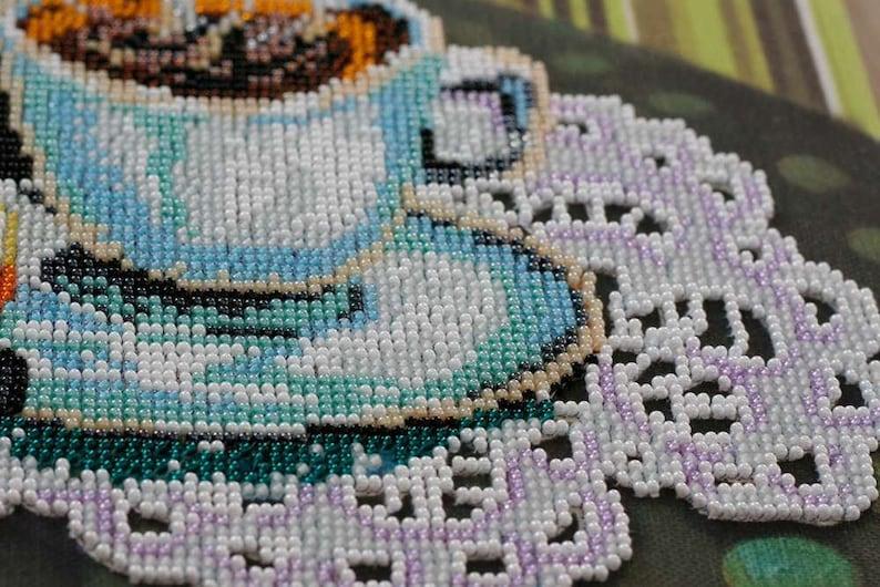 Coffee /& Lemon DIY Bead Embroidery Kit DIY gift idea Needlepoint kits Home decor Embroidery art Beaded painting set Needlepoint beading