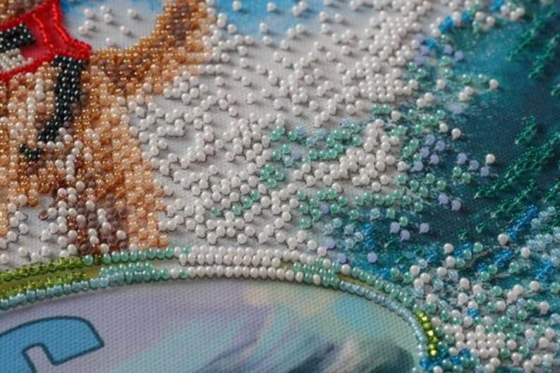 DIY Bead Embroidery Kit Sea Wave Needlepoint kit Coastal Home wall decor Embroidery art Beaded painting set Needlepoint beading