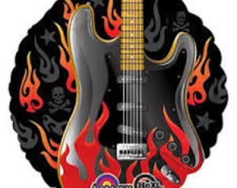 Electric Guitar Balloon Rockstar Mylar Rock N Roll Party Decorations Birthday Oldies