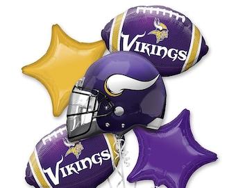 5f5e37e6421 Vikings football balloon bouquet, minnesota vikings balloons, vikings mylar  balloon, football party, super bowl, football