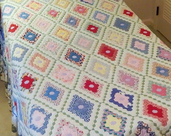 """Finished Patchwork Quilt, Honeycomb Pattern, Twin Size, 66""""W x 84""""L"""