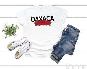 076af524 Oaxaca Shirt | Women's Unisex T-Shirt | White with Red Roses State Tee S M  L XL 2XL