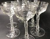Rock Sharpe Arctic Rose Liquor Coctail Glasses (set of 6) Cut Glass Stem Star on Base