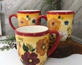 Sunset Bouquet by Oneida Set of 3 mugs Excellent Red Yellow Rust Floral