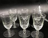 Arctic Rose By Rock Sharpe Set of 6 Juice Glasses Star on base Cut Glass Stem EUC