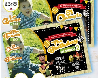 La Granja De Zenón Tarjeta De Invitación Niño De La Granja