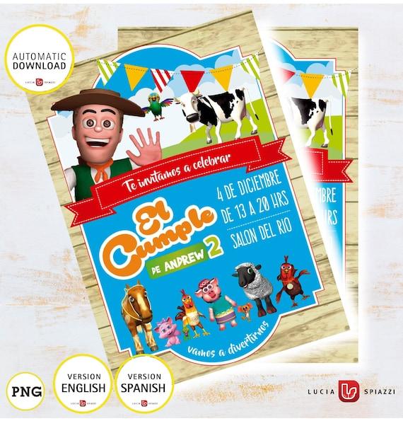 La Granja De Zenón Tarjeta De Invitación Niño De La Granja De Zenón Datos Personalizados Versión Ingles O Español Archivo Imprimible Jpg