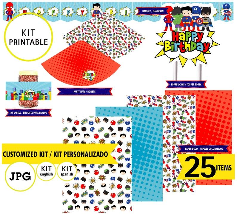 Superhero baby spiderman batman hulk 25 digital files birthday party Printable Kit kit printable 5 baby superhero custom logo JPG