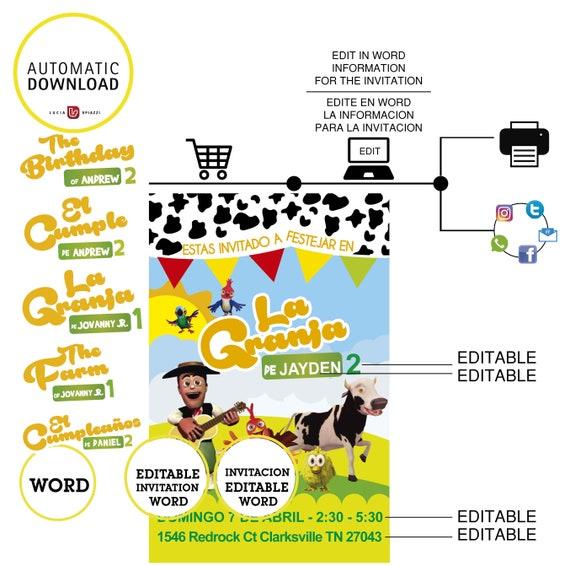 Editable La Granja De Zenón Tarjeta Editable Tarjeta Imprimible Descargable Formato Word 5 Archivos Con 5 Logos Para Elegir