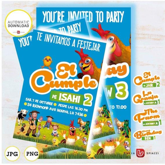 Zenon Farm Card Birthday Invitation With Custom Logo Instant Downloadable Jpg File Printable