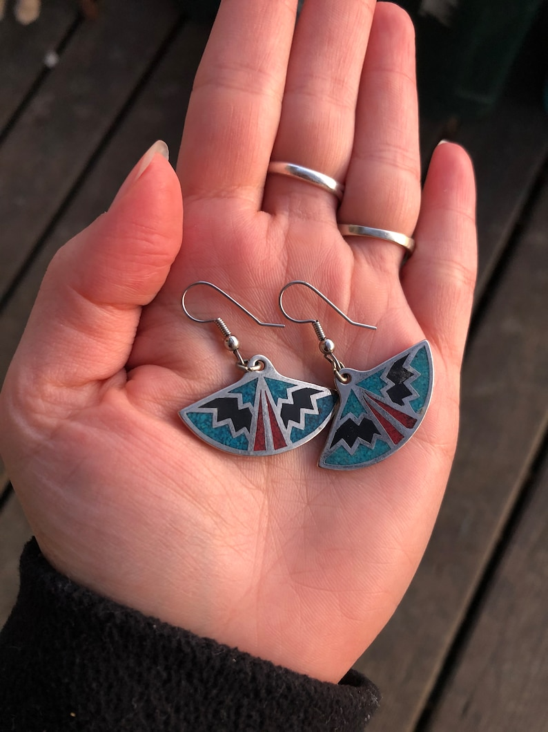 Native American sterling silver turquoise coral inlay fan dangle earrings