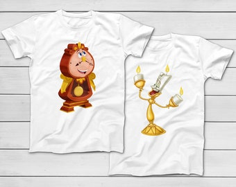 93fc8b2da6 Lumiere and Cogsworth | Beauty and the Beast Disney T-Shirt - Disney  Vacation 2019 - Group Tees - Best Friend T-Shirts