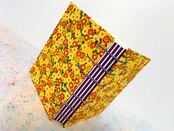 Bright Summer Yellow Japanese Coptic Stitched Book, Chiyogami Paper Japanese Flower Sketchbook, Notebook Journal, Bound Journal, Coptic Book