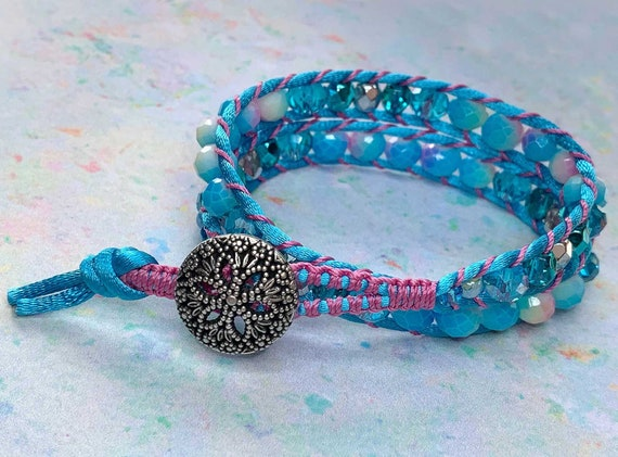 Double Wrap Pretty Blue and Pink Bracelet, beautiful glass beads, stunning metal button clasp, multi colour faceted and Czech crystal beads