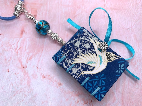 Beautiful Japanese Book Necklace, Coptic Book Pendant, Japanese Crane Book Pendant, Mini Book, Miniature Book, Coptic Stitched Book, Journal