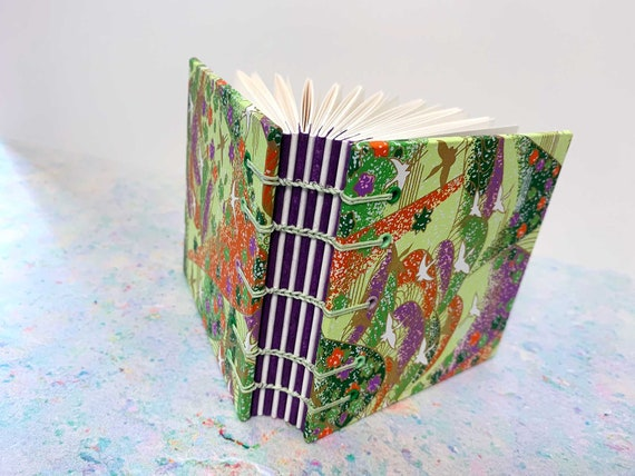 Lovely Green Square Bird Japanese Coptic Stitched Book, decorative purple spine, Chiyogami Paper, Sketchbook, Notebook, Journal, book gift